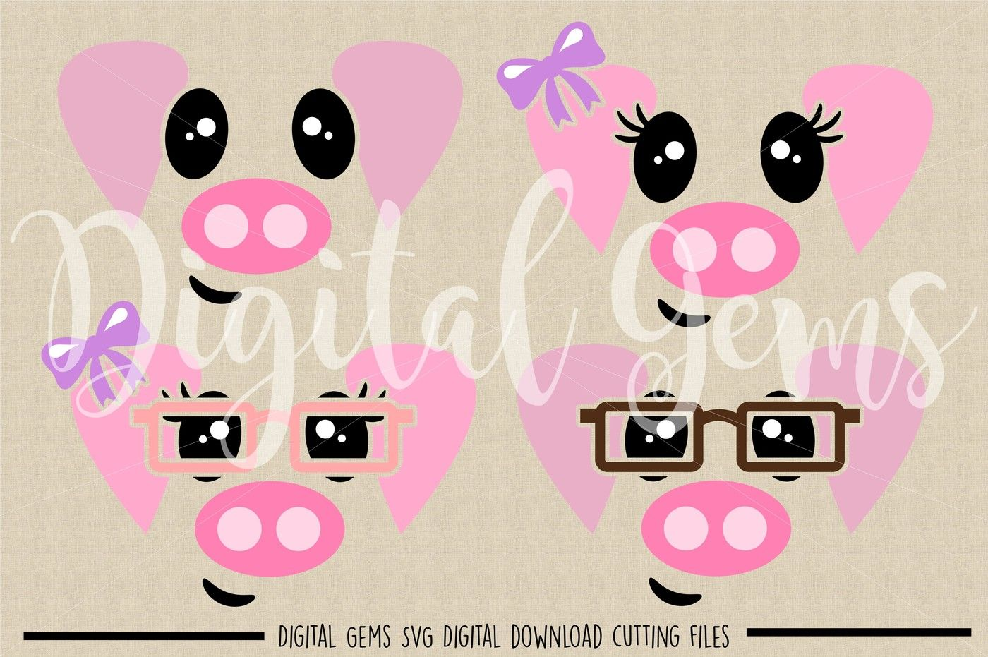 Pig Faces Svg Dxf Eps Png Files By Digital Gems