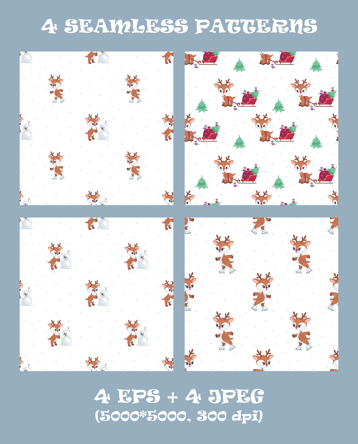 Cute Christmas Deer Vector Clip Arts And Seamless Patterns By