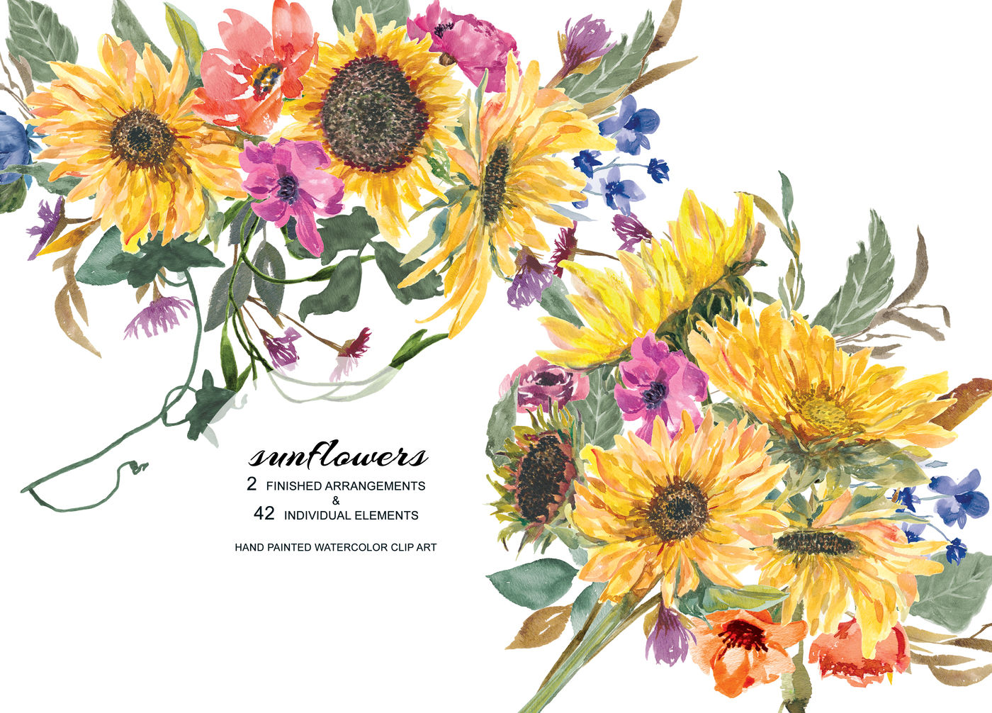 Hand Painted Watercolor Sunflower Clipart Arrangements ...