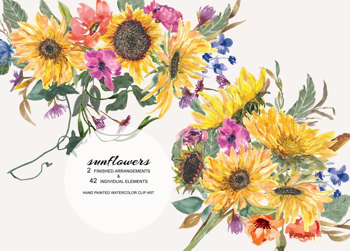 Hand Painted Watercolor Sunflower Clipart Arrangements ...