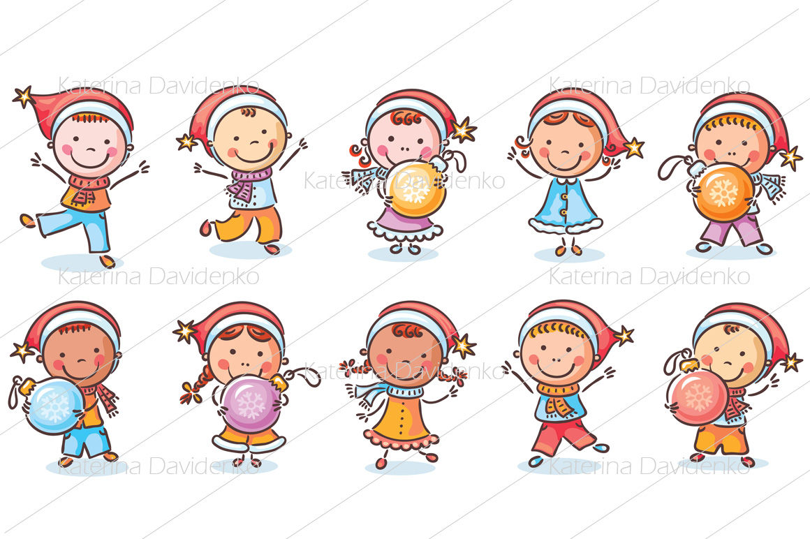 Set Of Cartoon Kids In Santa Hats And With Christmas Ornaments By