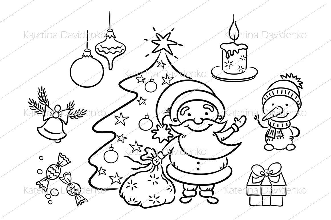 Cartoon Set With Santa Snowman Candle Present Christmas Tree