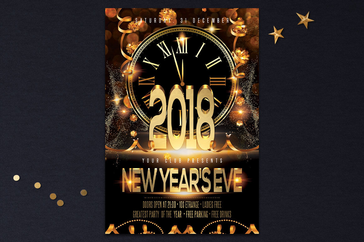 New Year Christmas Party Flyer By Artolus Thehungryjpeg Com