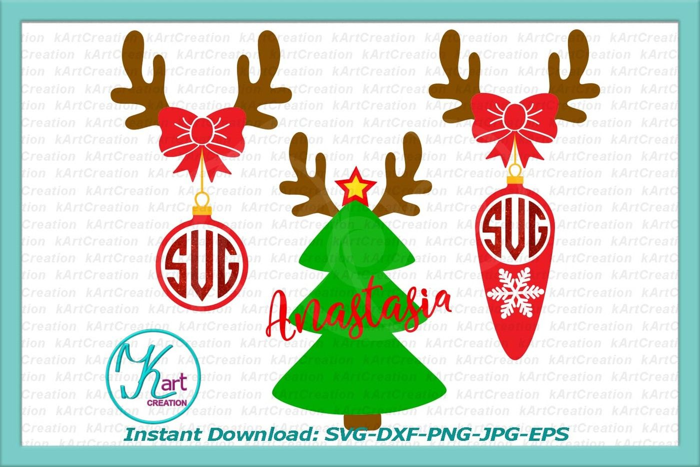 Deer Monogram Svg Reindeer Monogram Svg Antlers Monogram Svg
