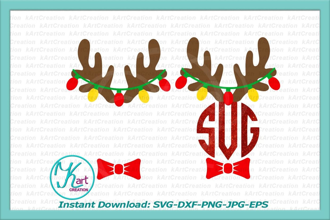 Reindeer Antlers Monogram Svg Antlers With Christmas Lights Svg