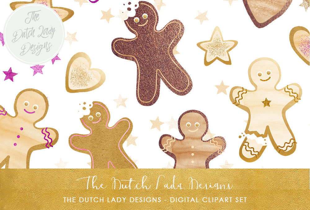 Christmas Cookie Clipart.Gingerbread Man Christmas Cookie Clipart By The Dutch Lady