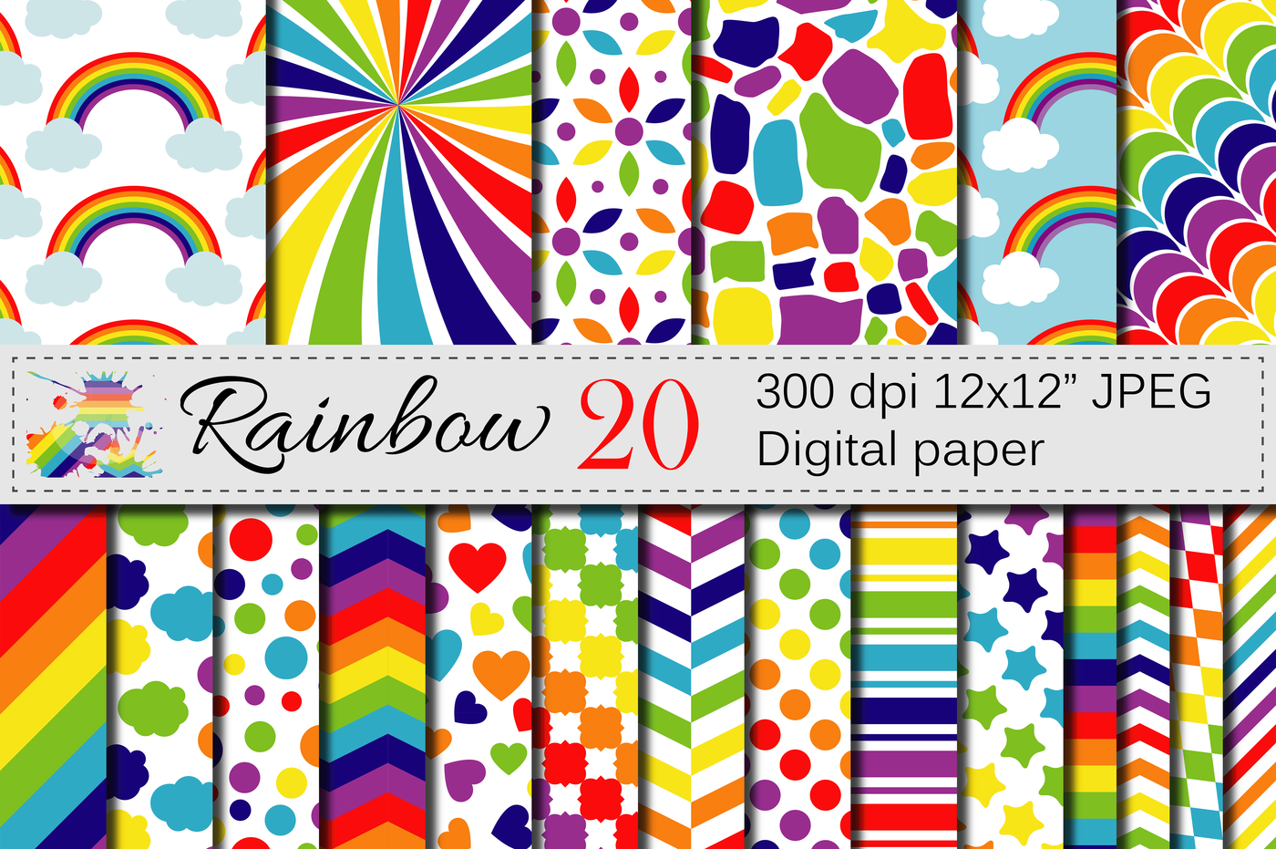Rainbow Digital Paper Pack Multicolored Scrapbooking Papers