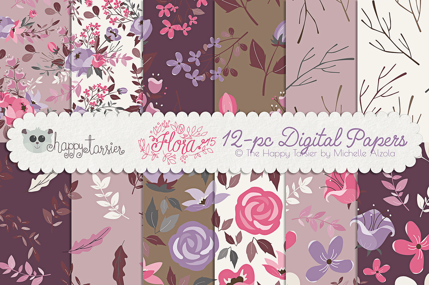 Flower Digital Papers And Seamless Pattern Designs Flora 15