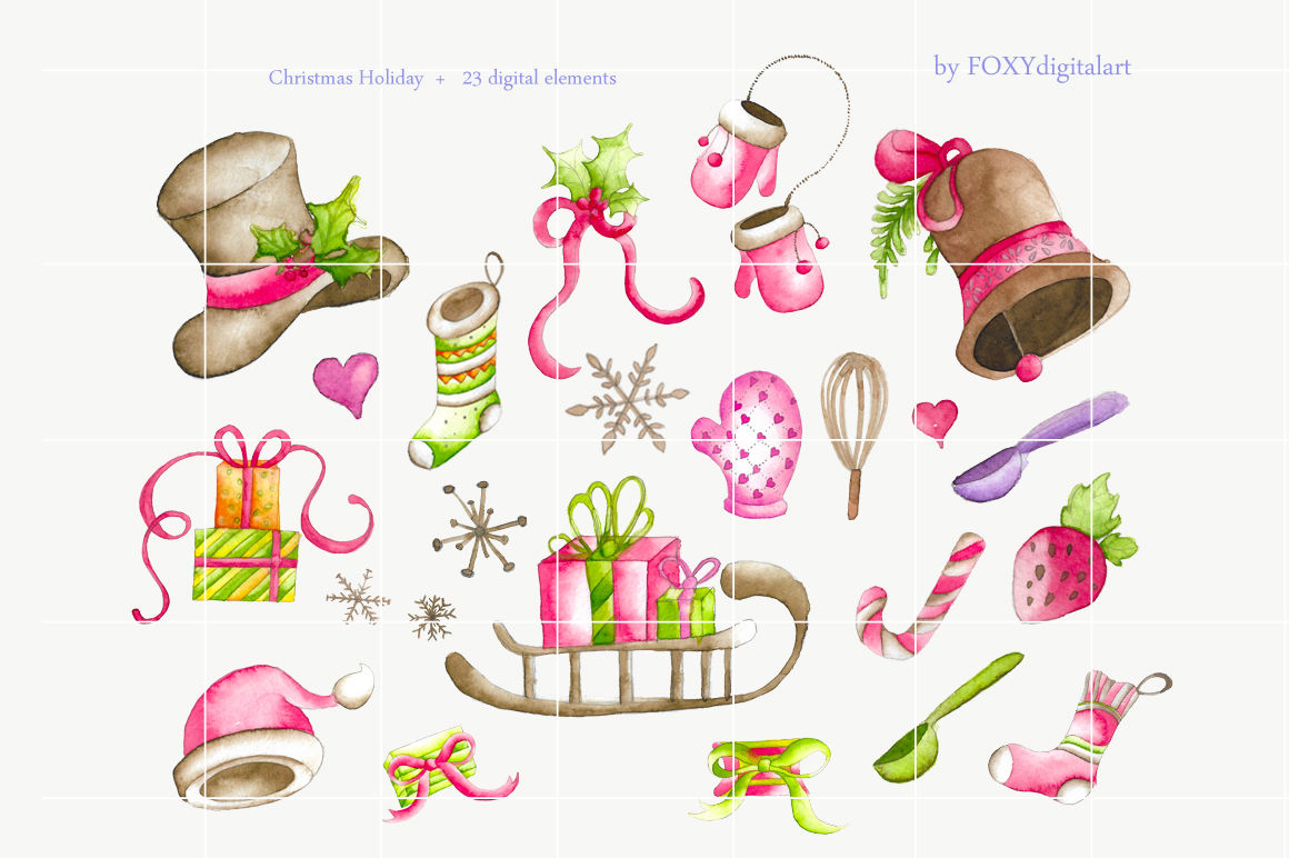 Christmas Clip Art Holiday Watercolor Decoration By Foxydigitalart