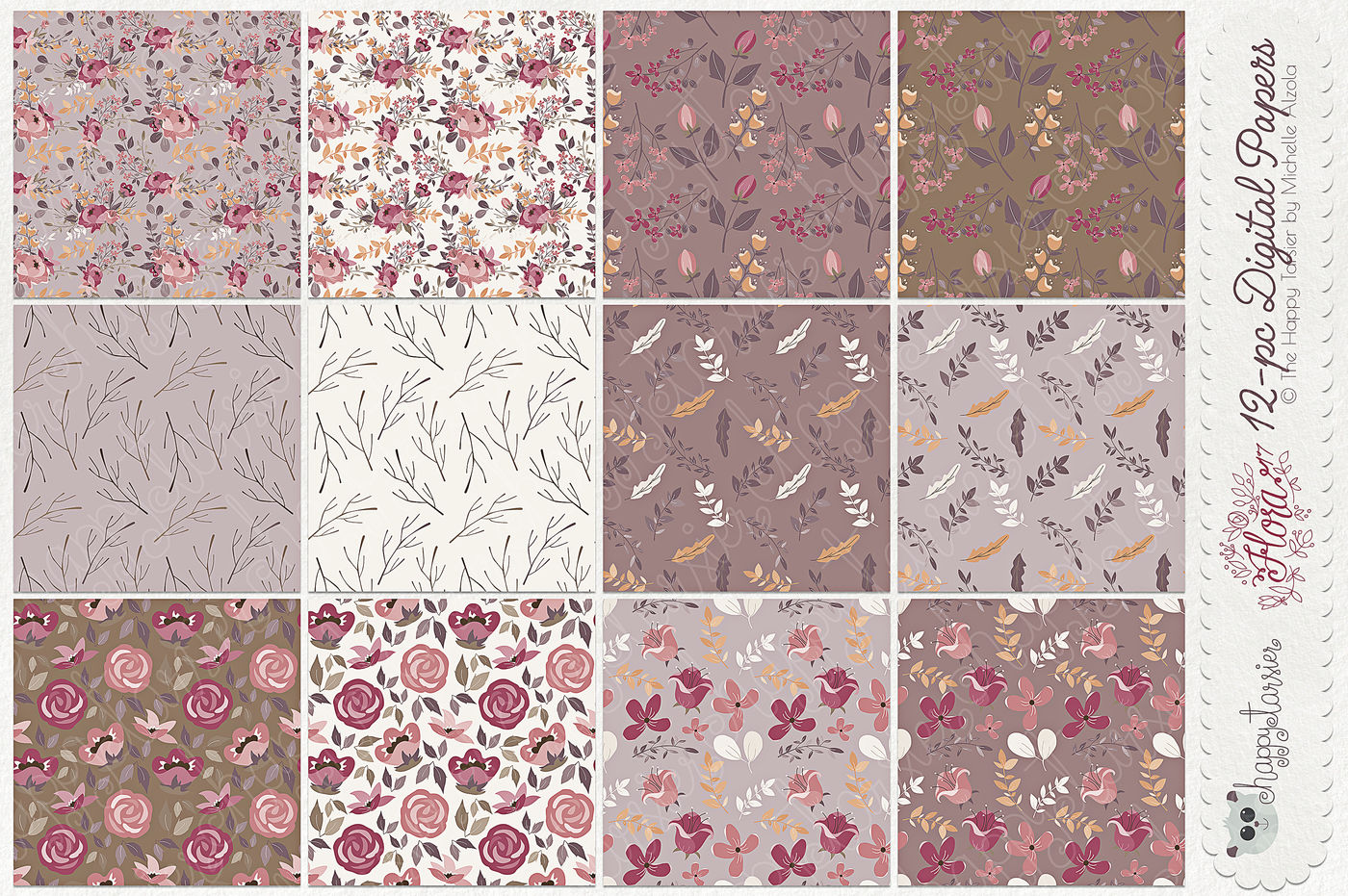 Flower Digital Papers And Seamless Pattern Designs Flora 17