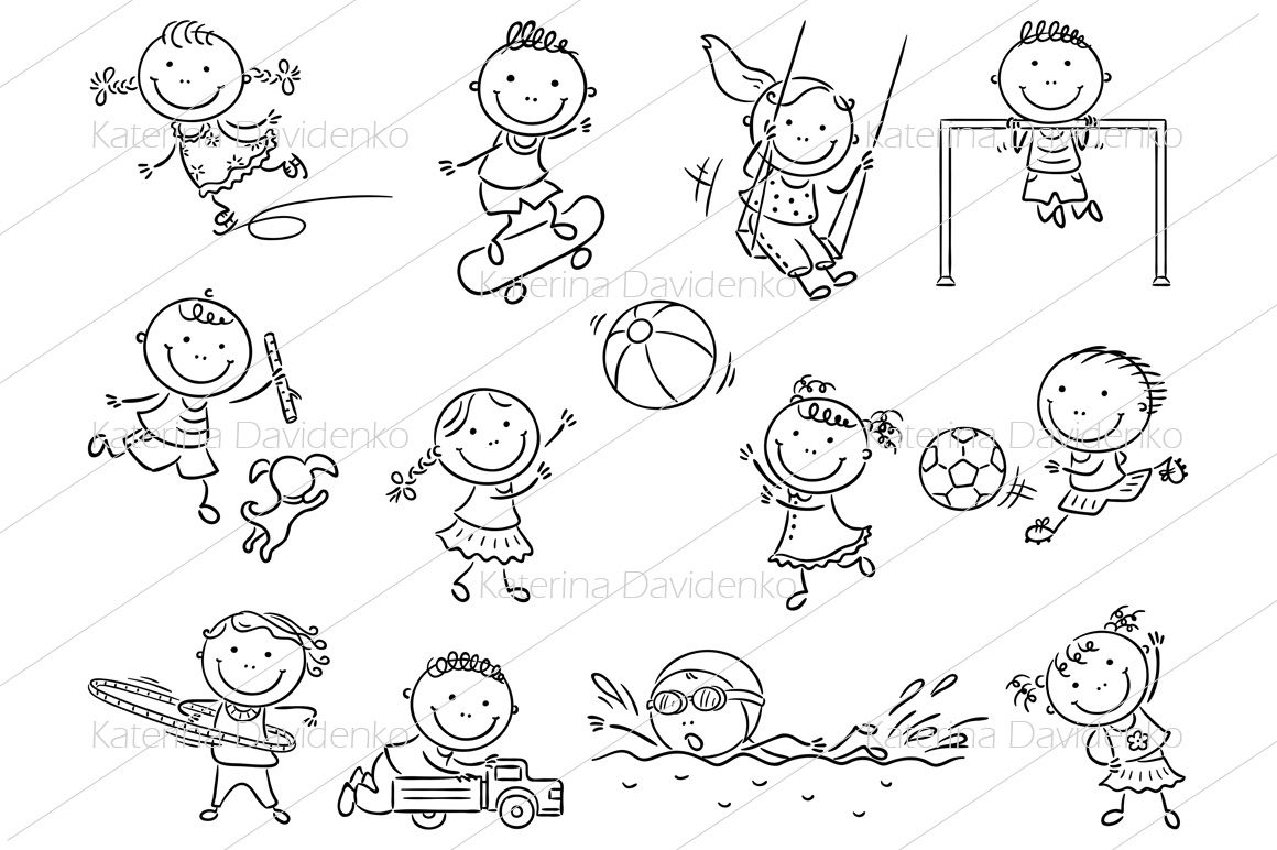 Set Of Cartoon Kids Outdoor Activities Sports And Games By Optimistic Kids Art Thehungryjpeg Com