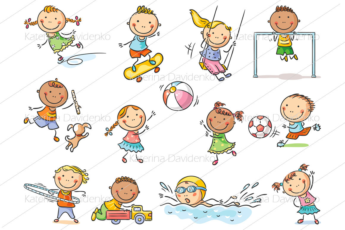 Set Of Cartoon Kids Outdoor Activities Sports And Games By