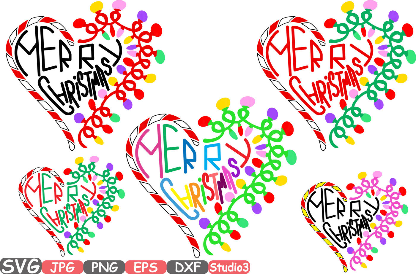 Merry Christmas Heart Silhouette Svg Cutting Files Digital Clip
