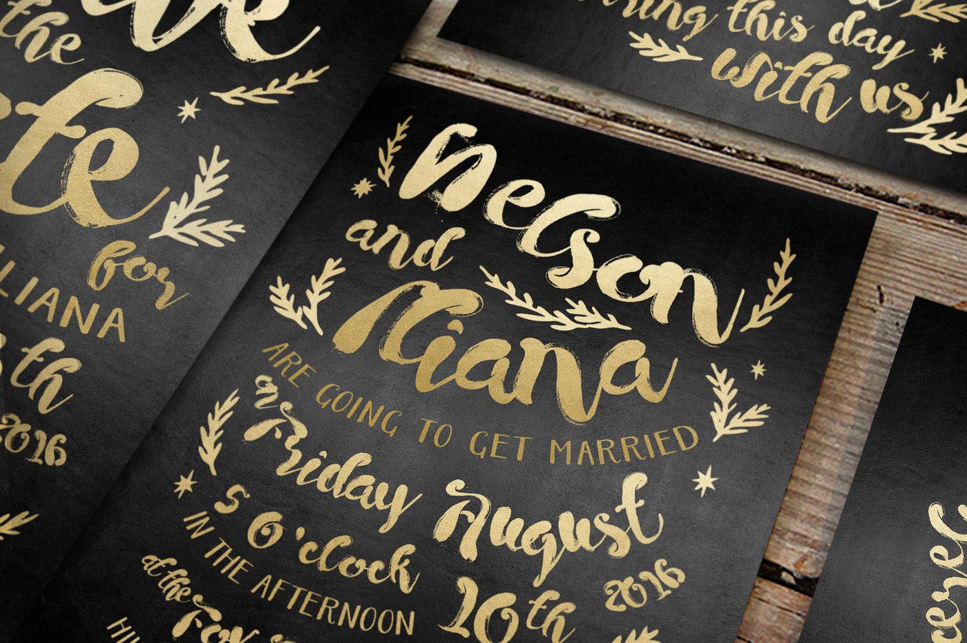 Black & Gold Hipster Wedding Invitation Suite By Bluerobindesignshop |  TheHungryJPEG.com