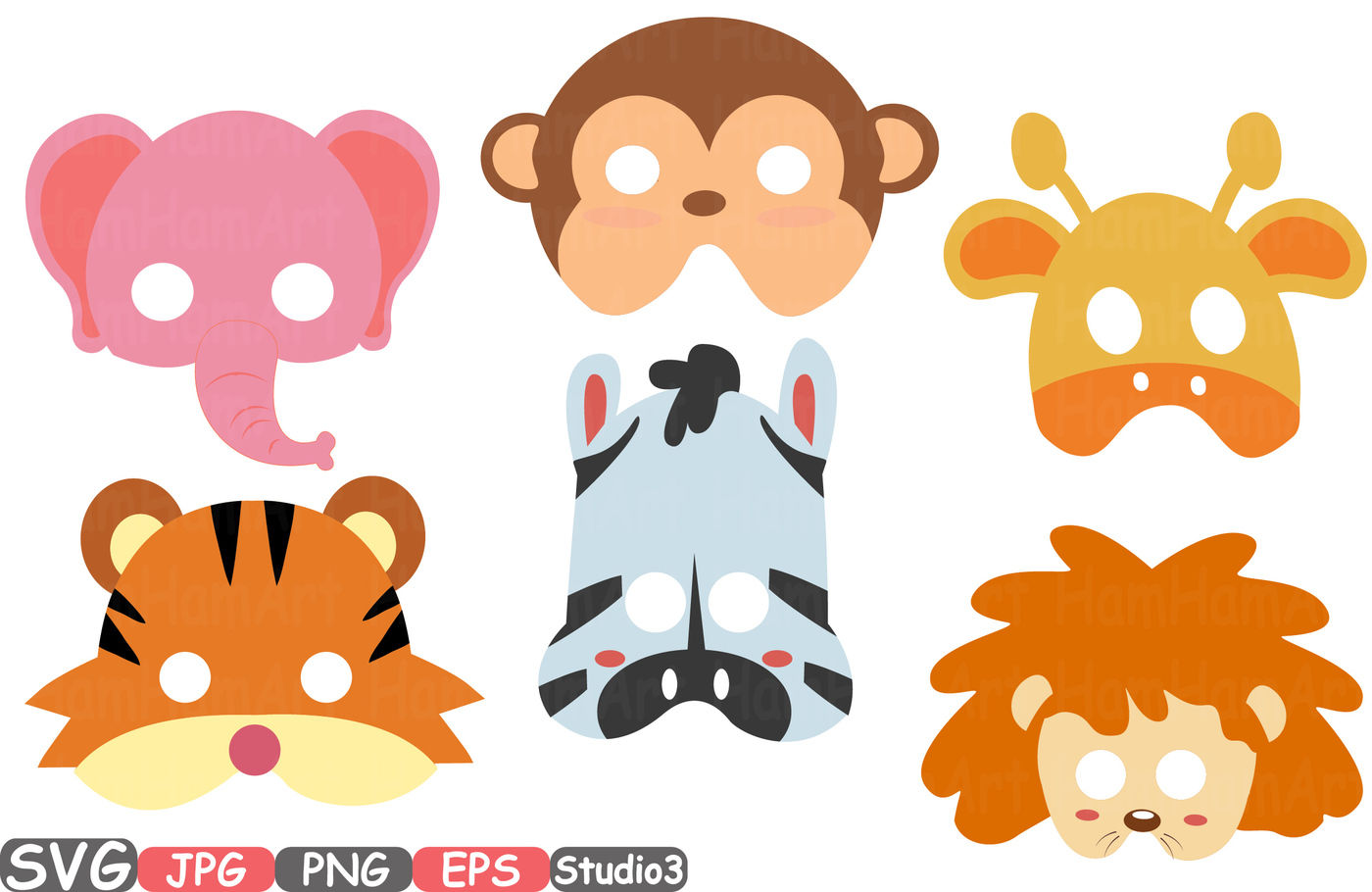 Props Africa Safari Wilderness Mask Booth Party Birthday Silhouette Svg Clipart Bunting Cutting Files Digital Svg Eps Png Jpg Vinyl Sale Woodland Circus Forest Mask Lion Tiger Zebra Elephant Monkey Giraffe 208s