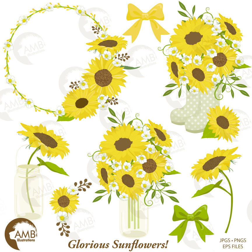 Mason jar shabby chic. Sunflower clipart wedding sunflowers