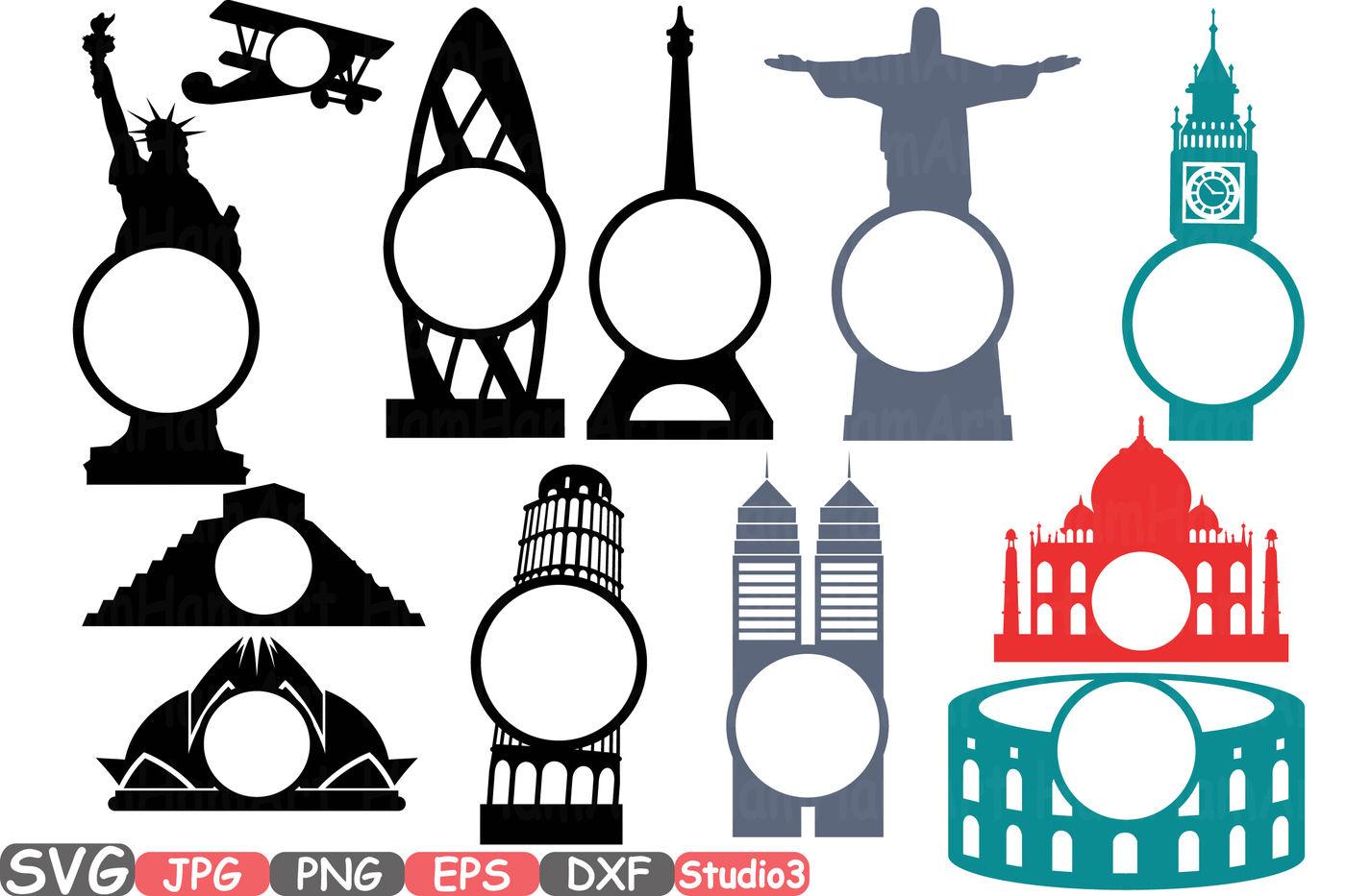 World Buildings Landmarks Svg Silhouette Travel City Cutting Files