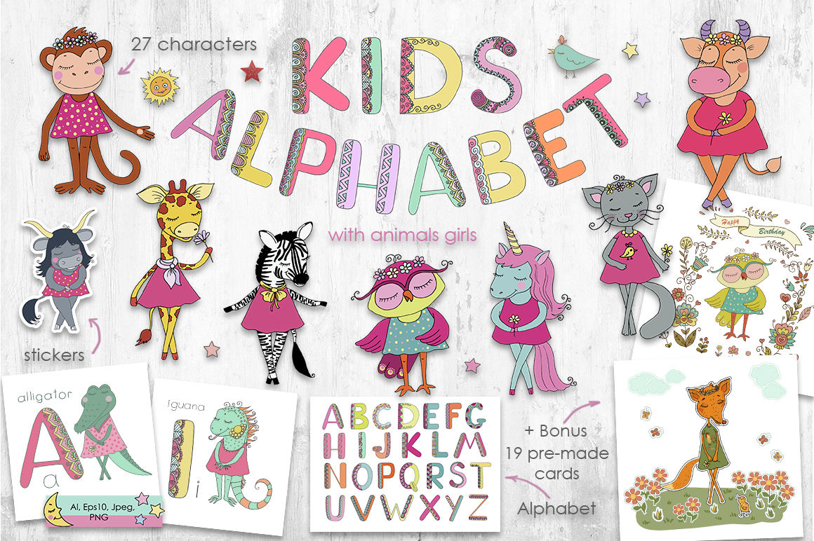 Kids Alphabet With Animals Girls By Cute Characters From Maya