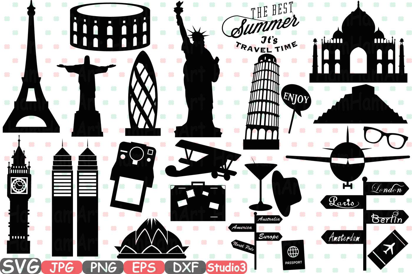 World Landmarks Svg Silhouette Travel City Buildings Silhouette