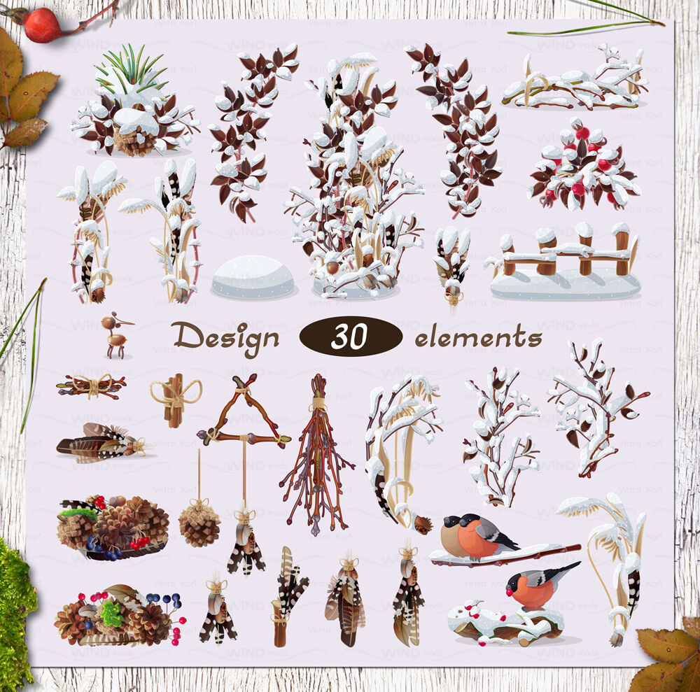 Christmas Vector Set Winter Forest By Windmade Thehungryjpeg Com