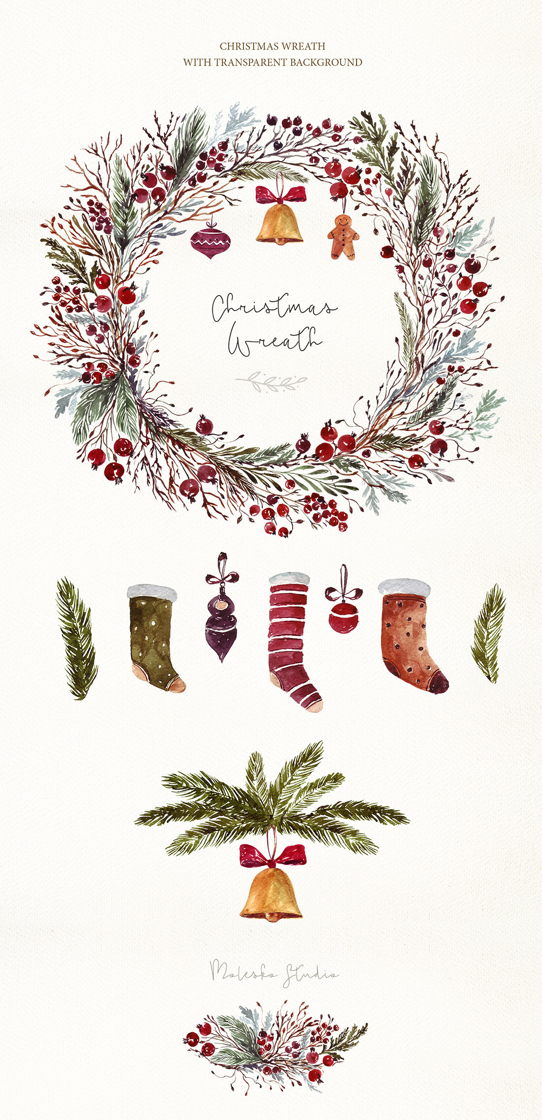 Christmas Decorative Set By Molesko Studio Thehungryjpeg Com