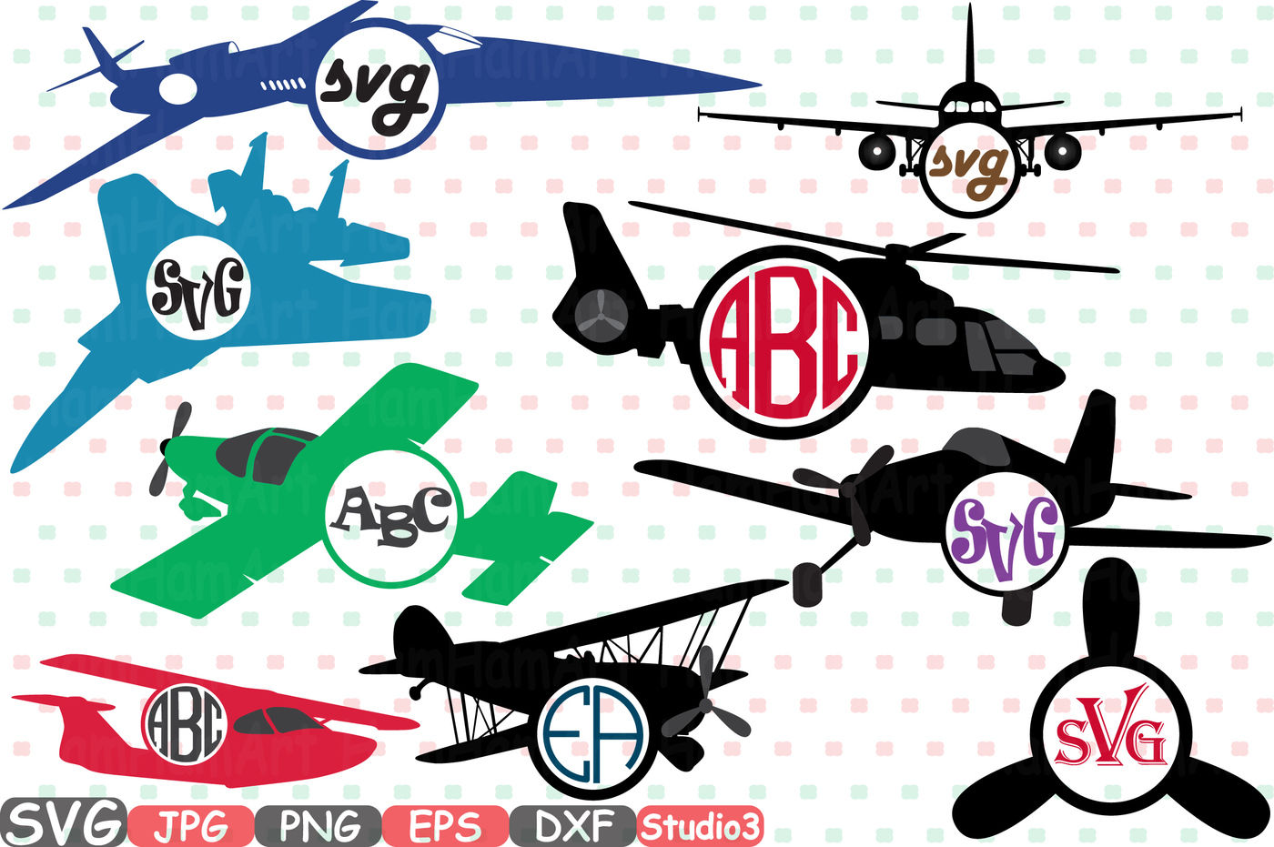 Patriotic Planes Silhouette Cutting Files Airplane