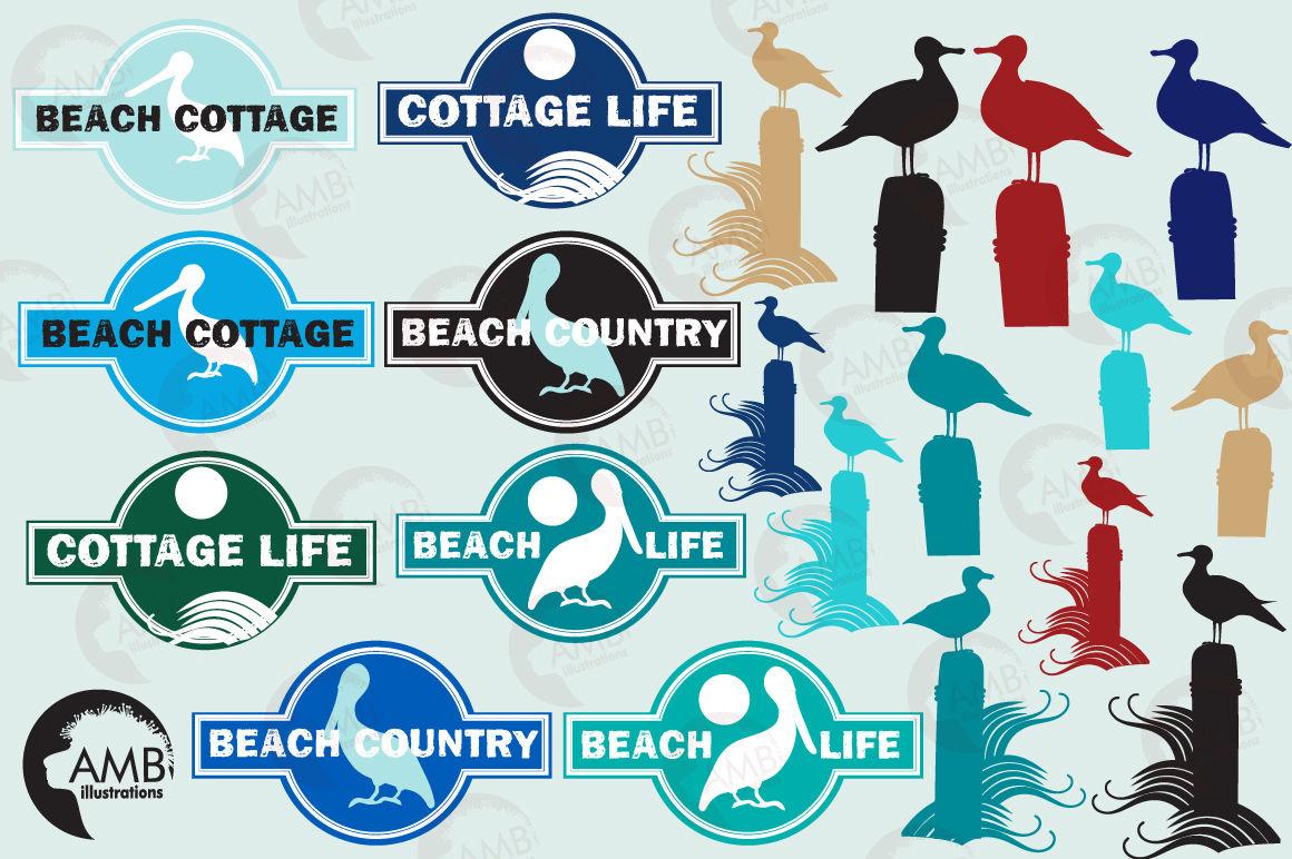 Beach Logos Clipart Graphics Illustrations Amb 393 By Ambillustrations Thehungryjpeg Com