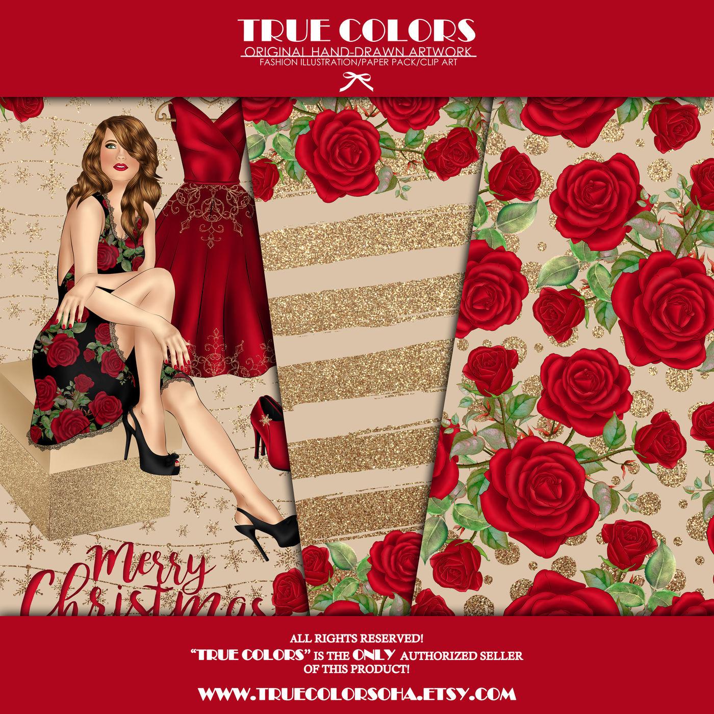 Christmas Digital Paper Pack Fashion Clipart Fashion Blogger