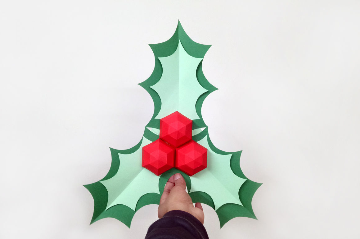 Diy Christmas Holly Stick 3d Papercraft By Paper Amaze