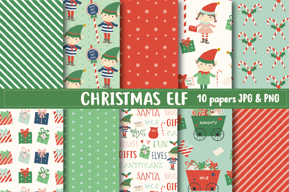 Christmas Elf Paper By Poppymoon Design Thehungryjpeg Com