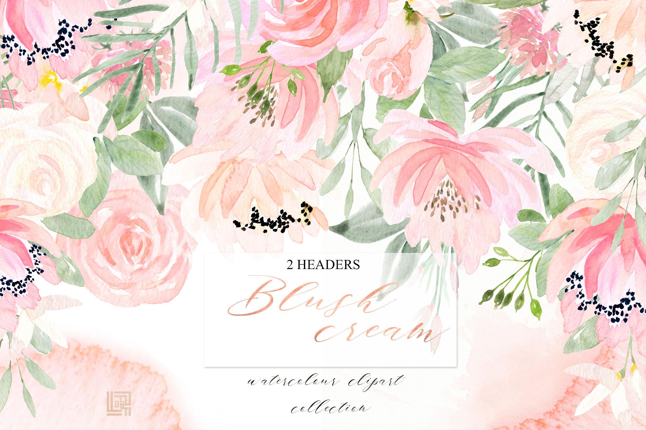 Blush Cream Watercolour Flowers Digital Clipart Hand Drawn By