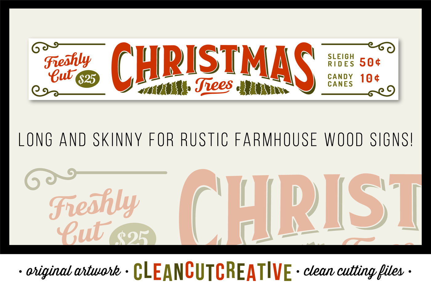 Freshly Cut Christmas Trees Long And Skinny Rustic Farm Wood Sign Svg Dxf Eps Png Cricut Silhouette Clean Cutting Files By Cleancutcreative Thehungryjpeg Com