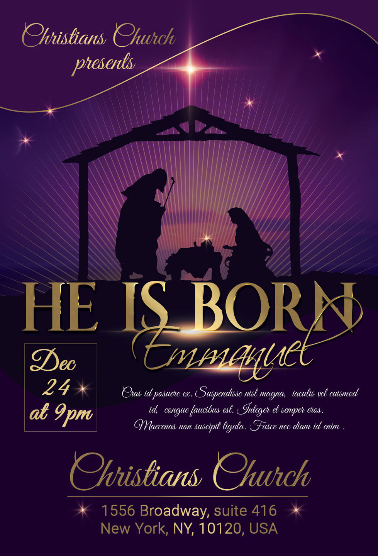 He Is Born Hope Christmas Flyer Poster By Artolus Thehungryjpeg Com