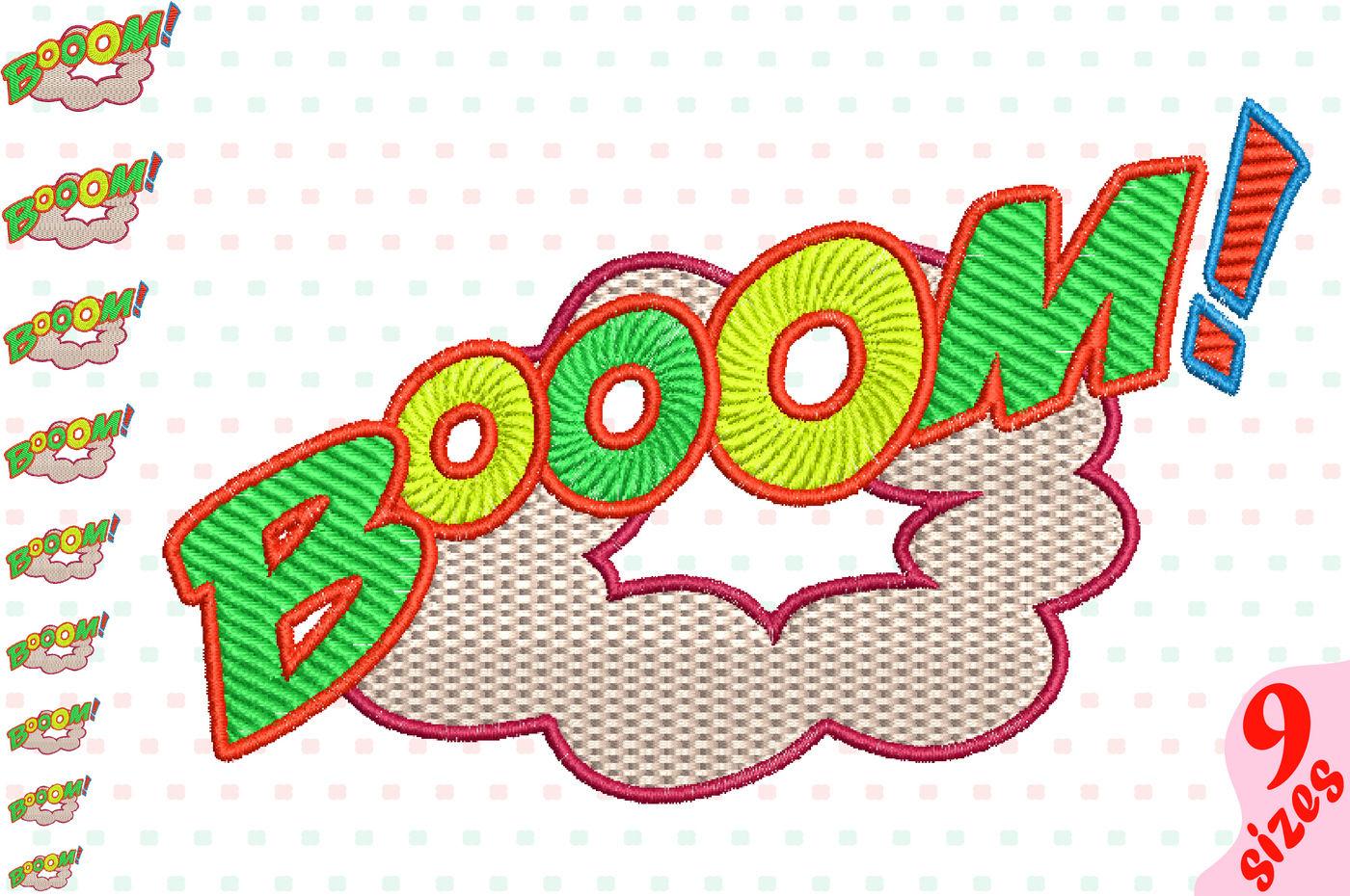 Booom Comic Book Embroidery Design Machine Instant Download