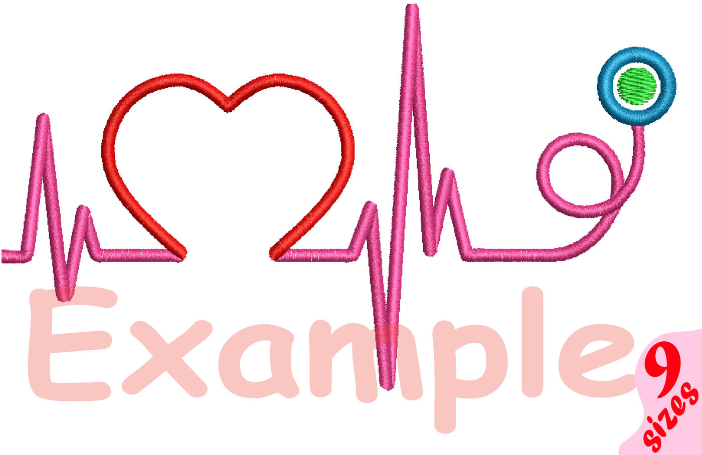 Heart Pulse Line Embroidery Design Machine Instant Download