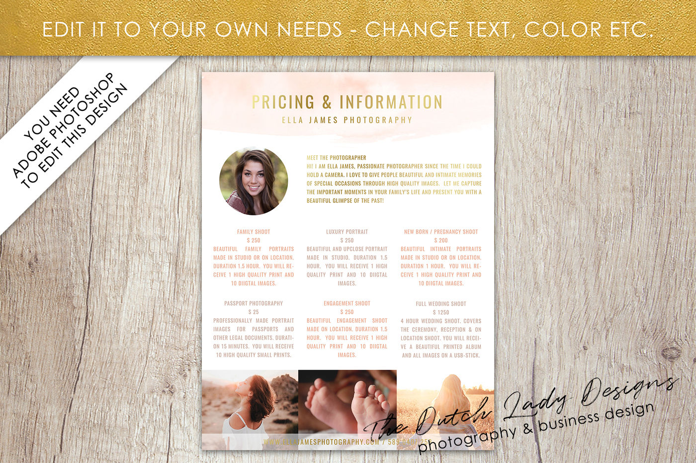 PSD Photography Pricing Guide #1 By The Dutch Lady Designs