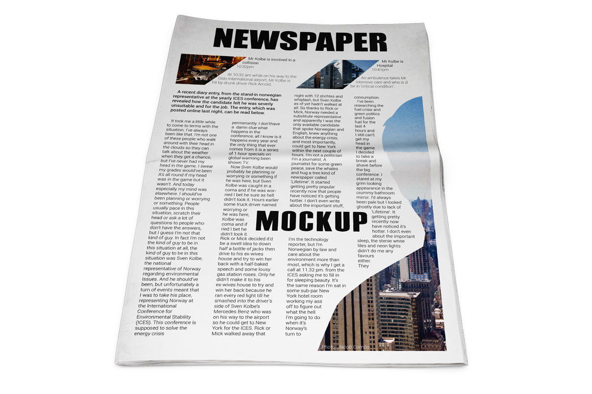 Newspaper Mockup By Mock Up Store Thehungryjpeg Com