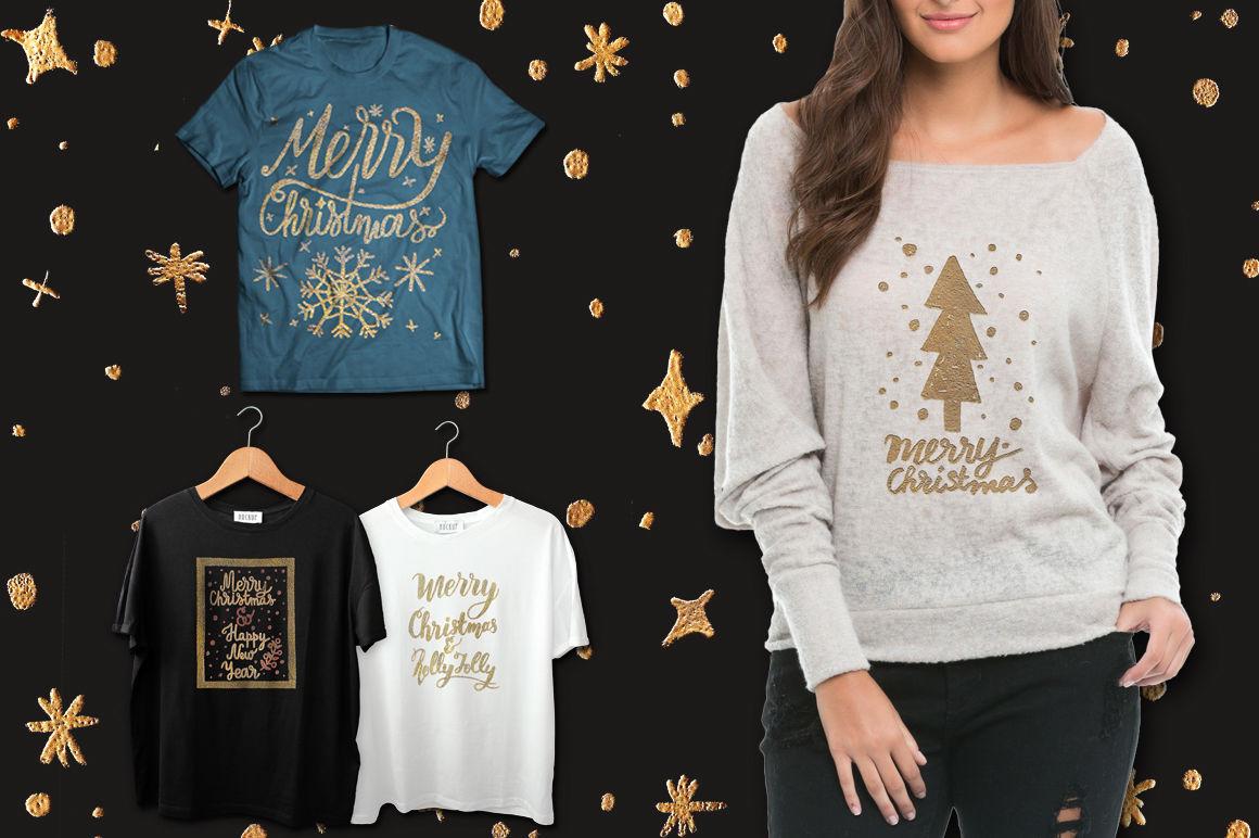 Gold Christmas By Alisa Katrevich Thehungryjpeg Com