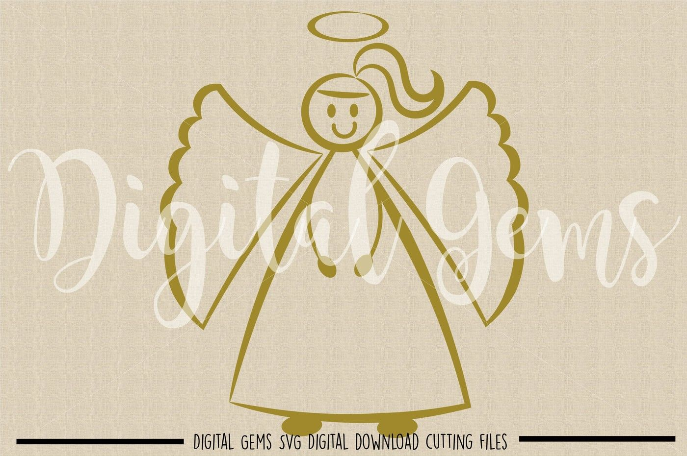 Angel Svg Dxf Eps Png Files By Digital Gems Thehungryjpeg Com