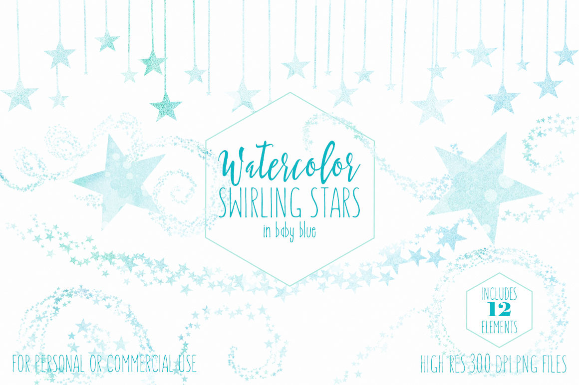 Baby Blue Watercolor Star Trails Swirling Star Graphics Light Blue