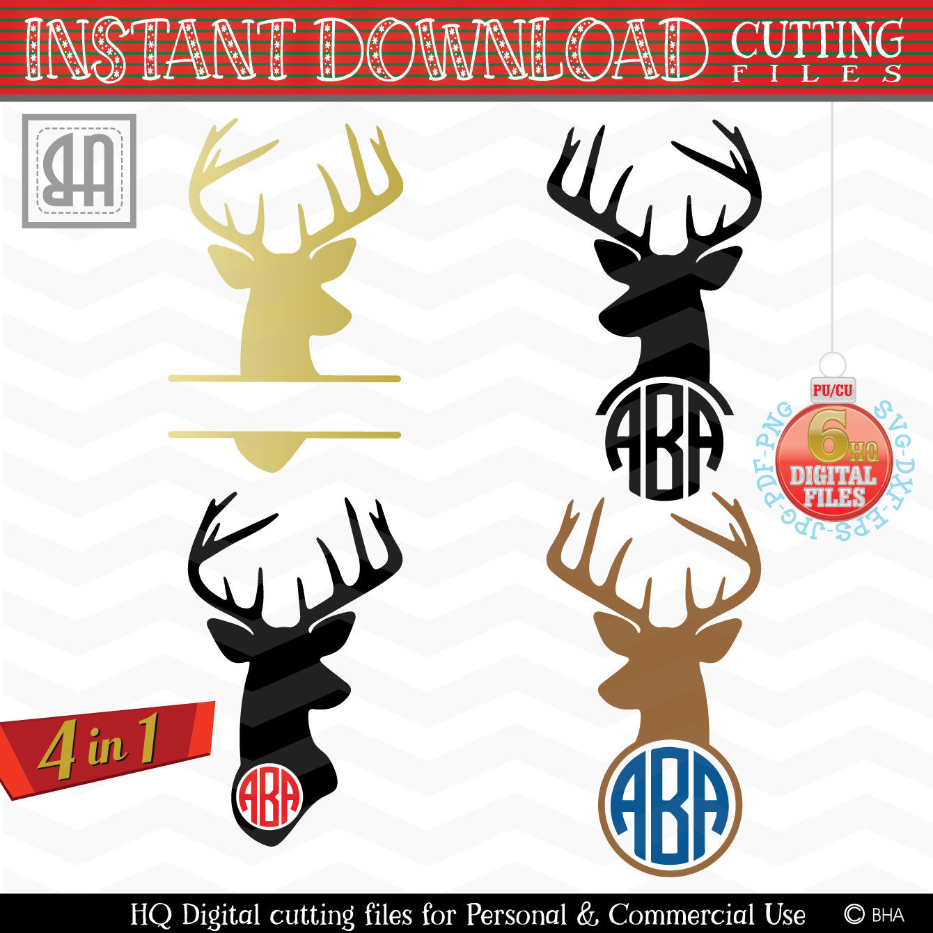 Deer Monogram Svg Reindeer Monogram Svg Reindeer Cut Files