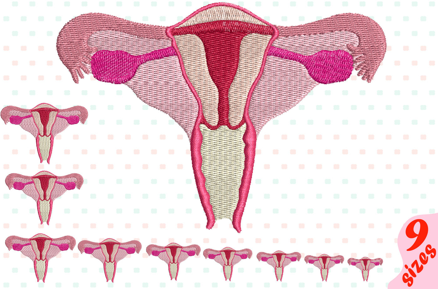 Uterus Embroidery Design Machine Instant Download Commercial