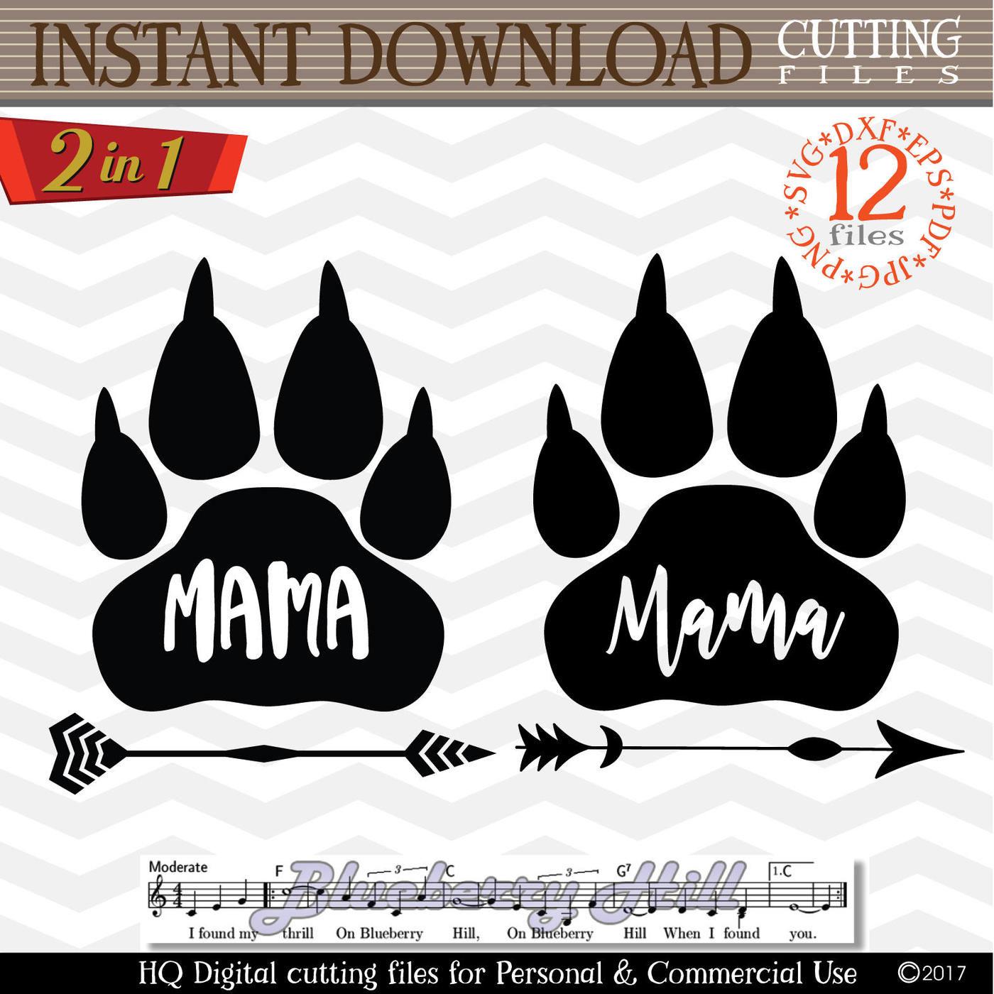 Mama Bear Paw Svg Mama Bear Svg Digital Mama Bear With Arrow