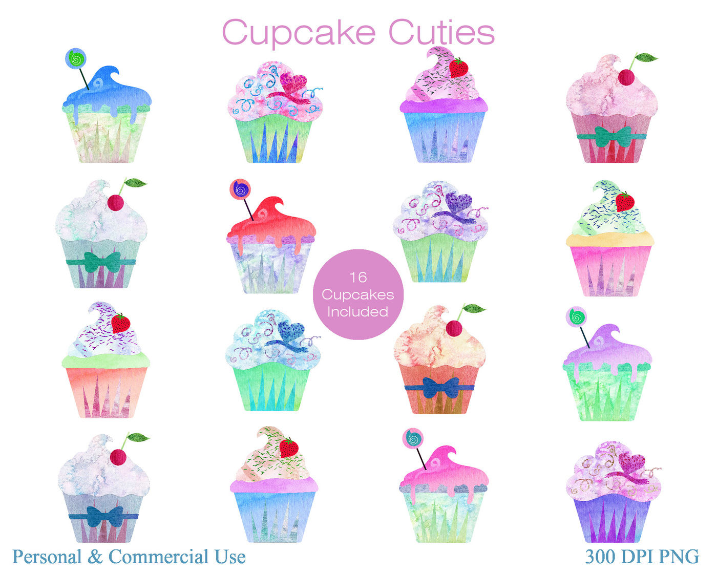Cupcake Digital Clipart, Dessert Clipart, Cute Kids Clipart | TpT