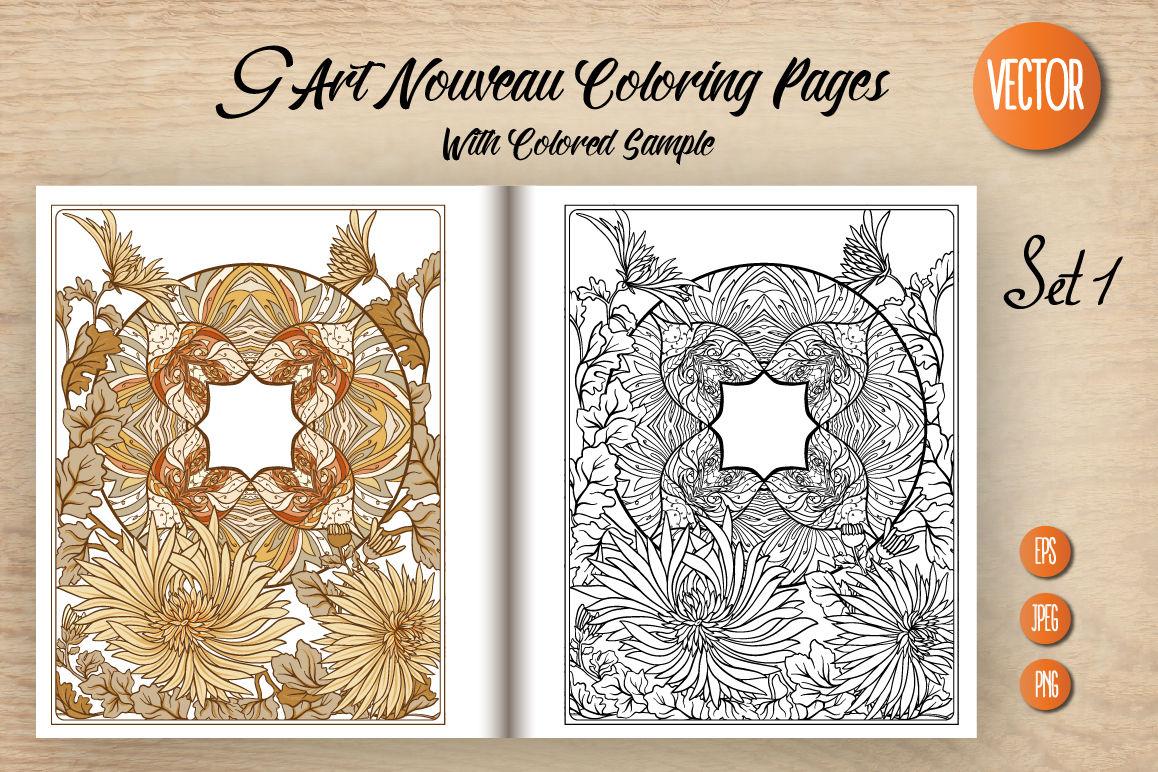 9 Art Nouveau Coloring Page By Elen Lane Thehungryjpeg Com