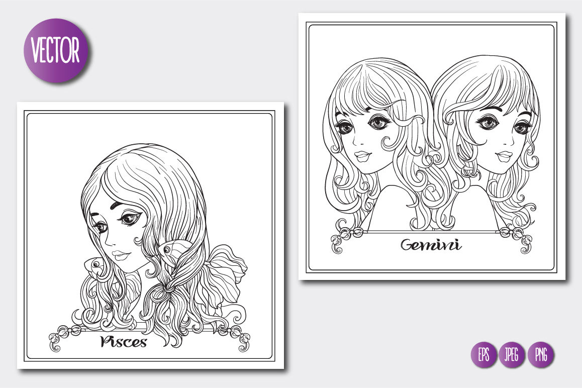 12 Zodiac Girls Coloring Pages By Elen Lane Thehungryjpeg Com