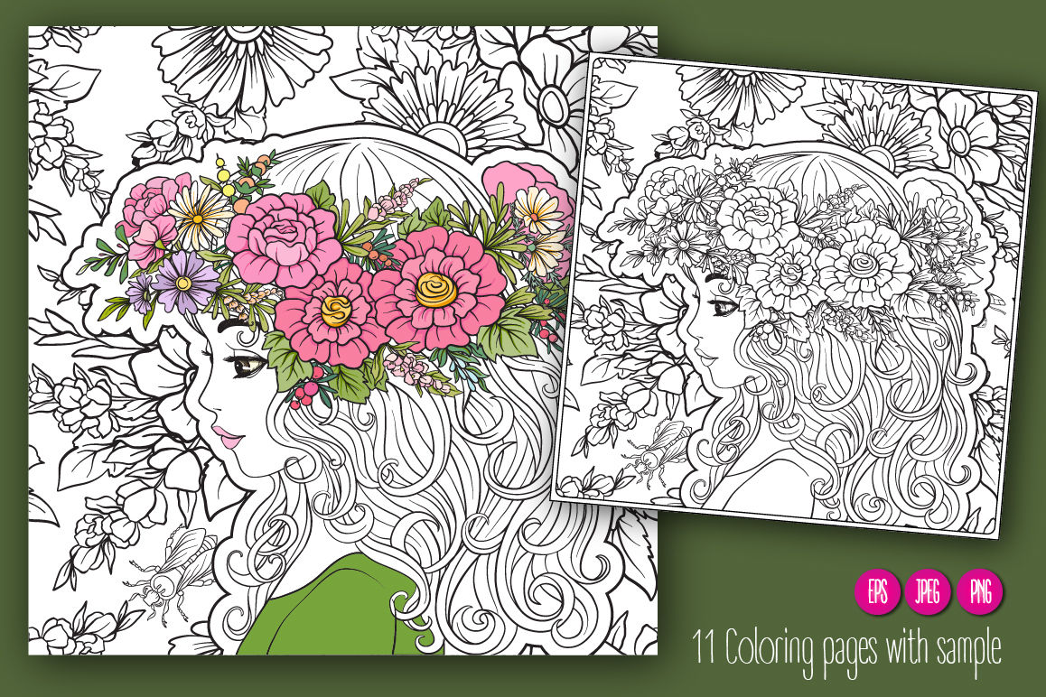 11 Girls Flowers Coloring Pages By Elen Lane Thehungryjpeg Com