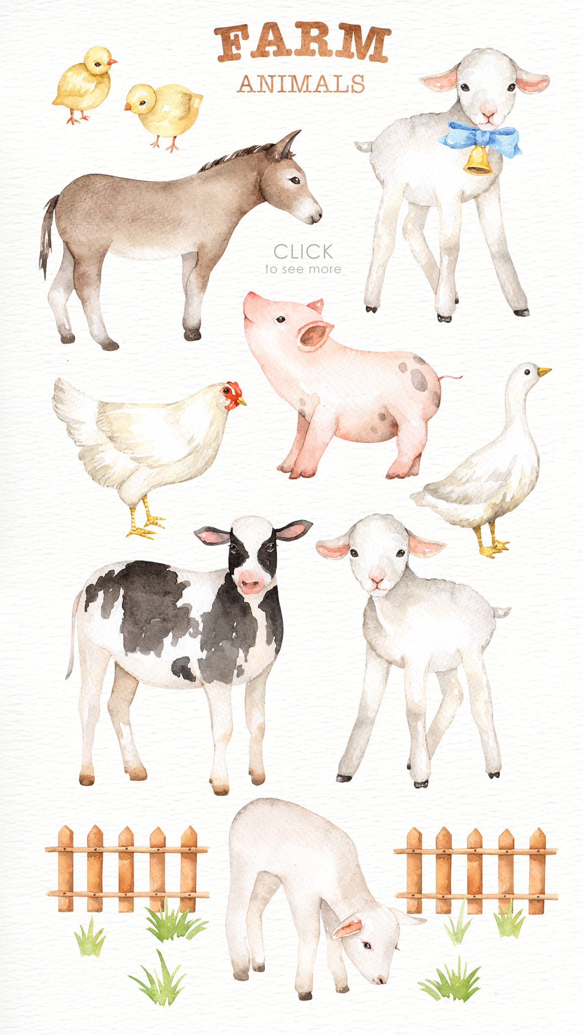 Farm Animals Watercolor clipart By everysunsun ...
