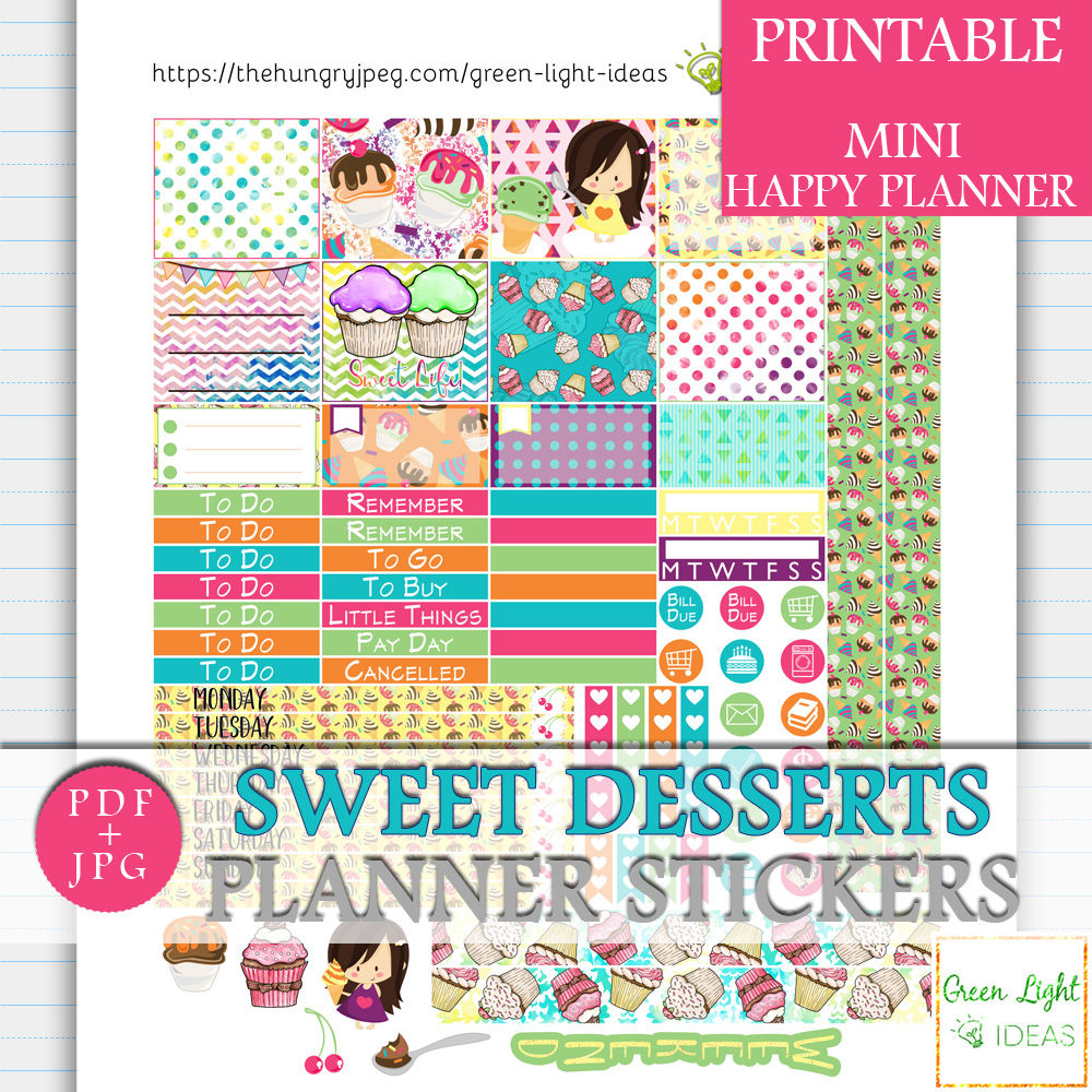 Cupcakes And Ice Creams Mini Happy Planner Stickers By Green Light