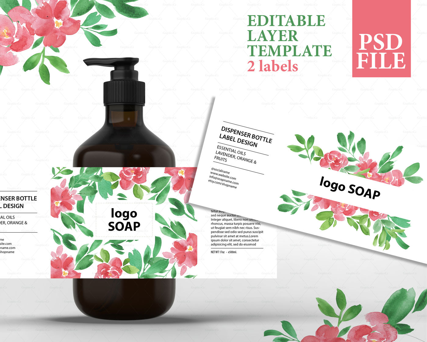 Soap label design, cosmetic label template, product